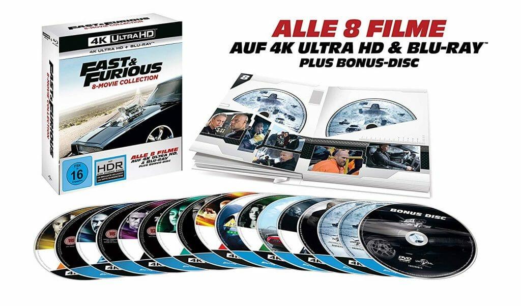 Der Inhalt der Fast & Furious 8 Movie Collection inkl. aufwendigem Schuber und Bonus Disc!