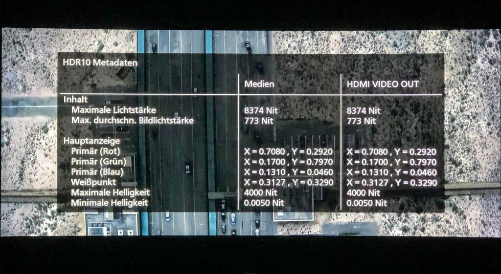 HDR10 Metadaten ausgegeben über den DP-UB824 (Bild Sicario 2)