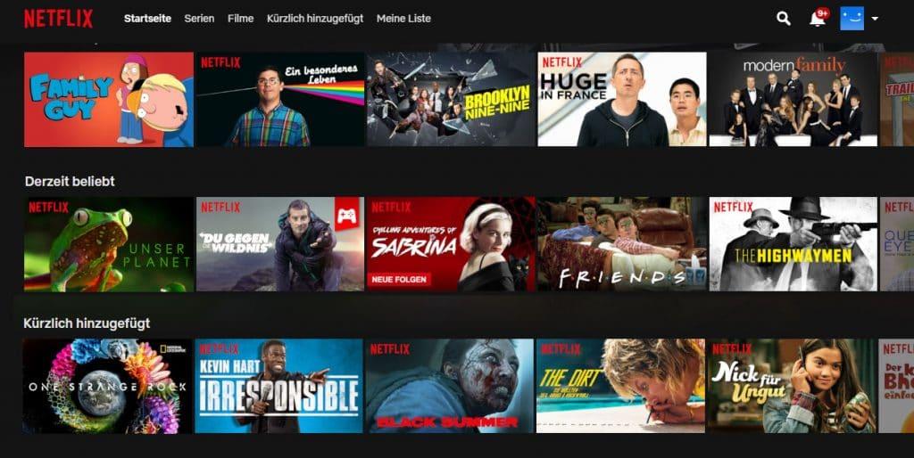 """Die Netflix """"Top 10 Charts"""" werden dann auf der Startseite sowie den Kategorien ausgespielt"""