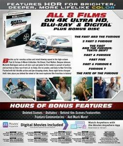"""Die Rückseite der """"Fast & Furious 8-Film-Kollektion"""" auf 4K Blu-ray (US-Version)"""