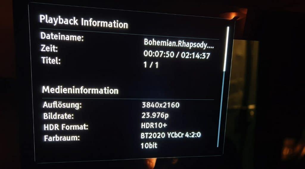 BEWEISE! Bohemian Rhapsody läuft auf einem Sony AF8 via Oppo UDP-203 im HDR10+ Modus