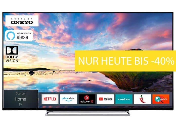 Nur heute gibt es ausgewählte Toshiba 4K Fernseher mit bis zu 40% Rabatt ab 299 Euro zu kaufen!