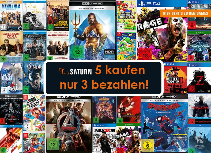 mega aktion 5 kaufen 3 zahlen auf filme games inkl. Black Bedroom Furniture Sets. Home Design Ideas