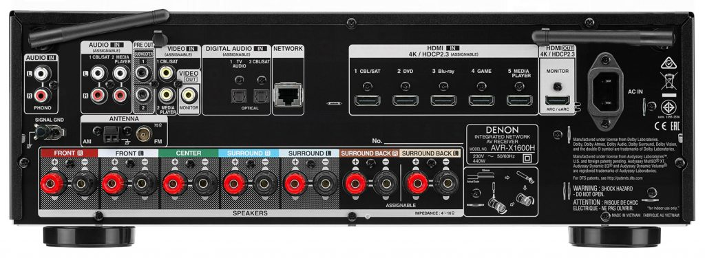 Auf der Rückseite des AVR-X1600H werden die Unterschiede zum besser ausgestatteten AVR-X2600H klar.