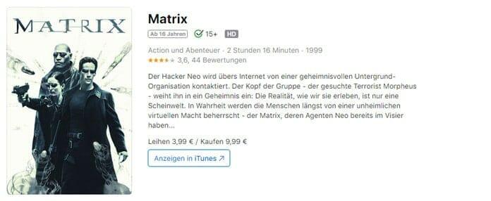 """Über 40 Titel, unter anderem auch """"Matrix"""" waren für rund zwei Tage nur noch in HD-Qualität abrufbar"""