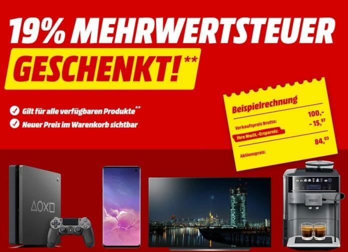 19 Prozent Mehrwertsteuer geschenkt! Nur bis Samstag auf MediaMarkt.de