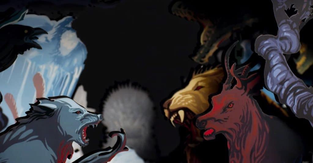 Im Shadow Box Display werden die Banner-Tiere sowie wichtige Elemente aus der Serie (z.B. Der eiserne Thron) prominent dargestellt