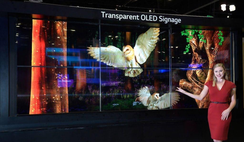 Mehrere transparente OLED-Display mit 55 Zoll lassen sich in einem Array zuammenschließen