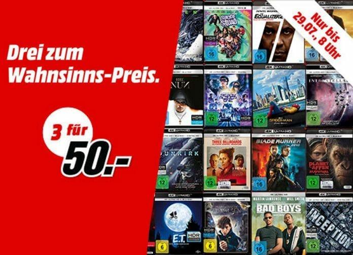 Hier könnt ihr eure Filmsammlung auffrischen: 3 für 50 Euro auf 4K UHD Blu-rays