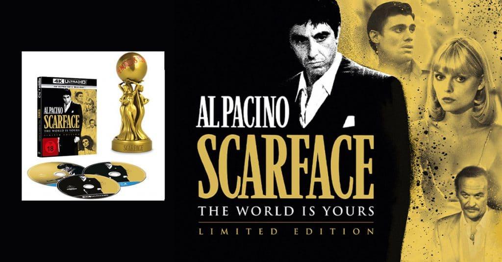 """Die goldene """"The World Is Yours"""" Statue der Scarface Limited Edition macht sich sicherlich gut in den Vitrinen der Sammler"""