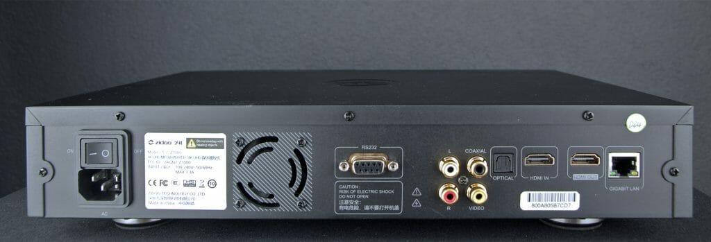 Anschlüsse Zidoo Z1000 4K Media Player