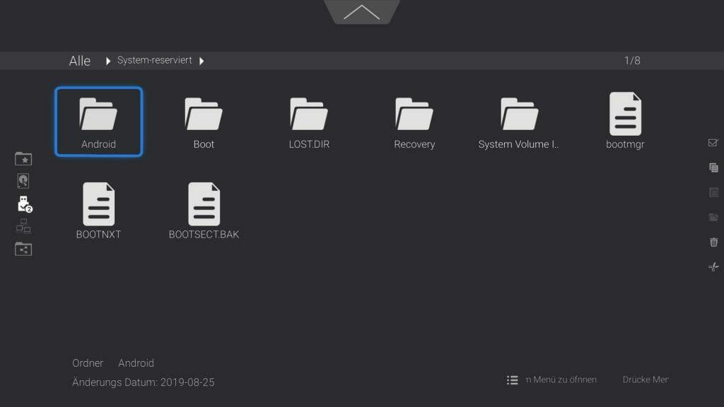 Der Dateiexplorer ist gut strukturiert und erlaubt den Zugriff auf eine große, digitale Sammlung