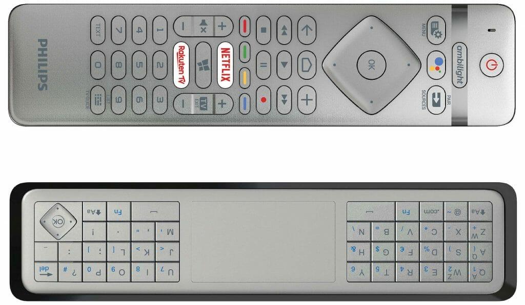 Die Überarbeitete Fernbedienung des OLED984 mit Funktionstasten für Google Assistant, Netflix, Rakuten TV und einer vollwertigen Tastatur + Trackpad auf der Rückseite