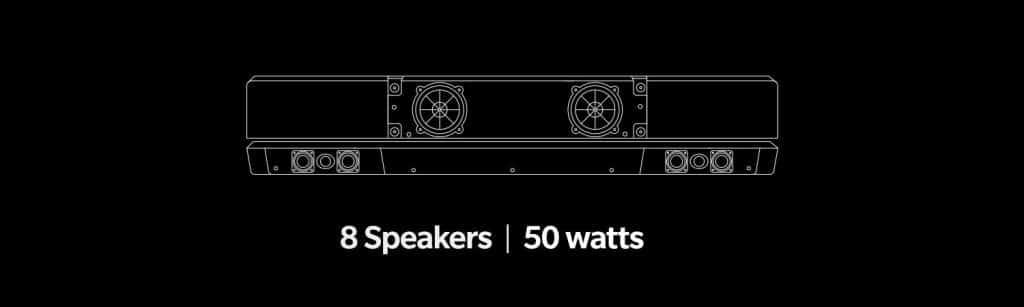 Lautsprecher-Anordnung des OnePlus TV Q1 Pro mit 80 Watt und 8 Treibern