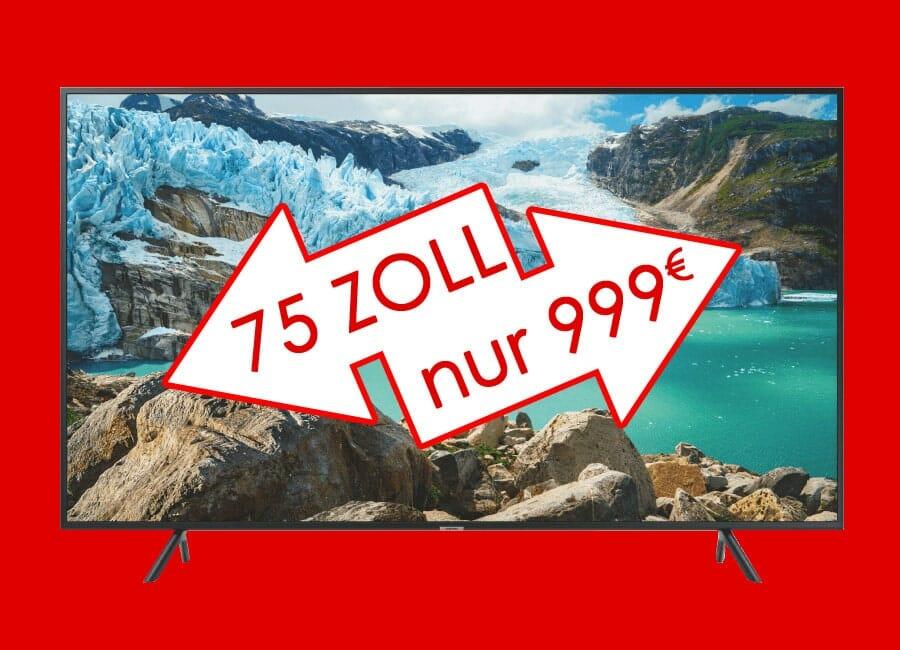 Samsung Xxl Tv Mit 75 Zoll Zum Mini Preis Von 999 Euro 4k