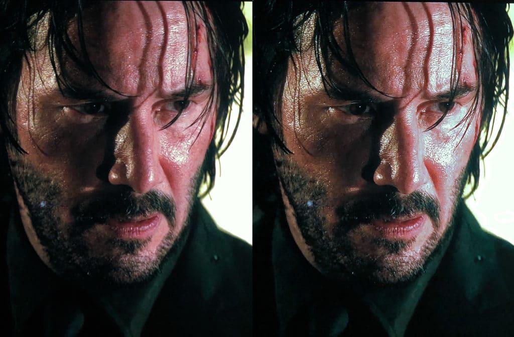 Nahaufnahmen von Schauspielern wie hier Keanu Reeves in John Wick 2 zeigen viel mehr Details (links Standard / rechts AI Upscaling)