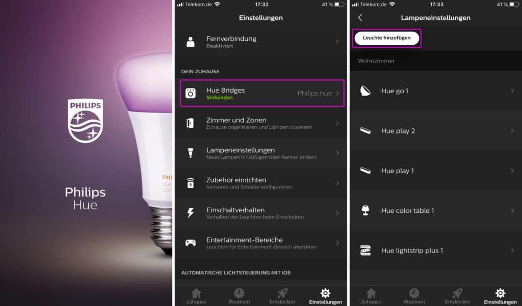 Hue App öffnen, Hue Bridge verbinden und Hue Lampen zu einem Zimmer hinzufügen.