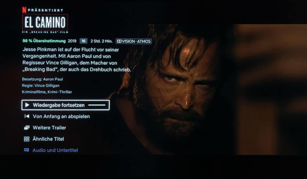"Netflixs Breaking Bad Film ""El Camino"" in Dolby Vision & Atmos auf der Shield TV Konsole"