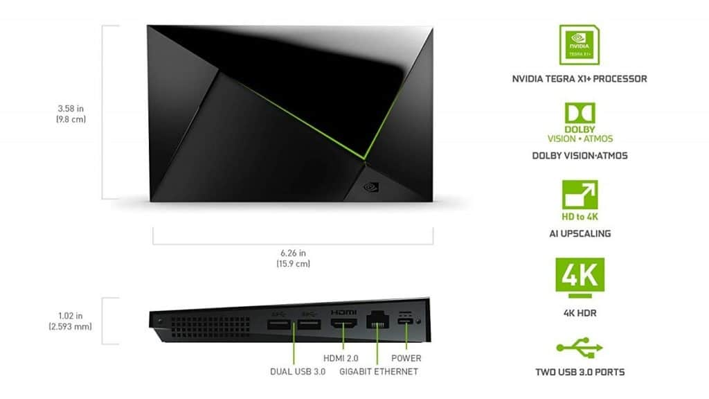 Spezifikationen der Nvidia Shield Pro 2019: Tegra X1+ Prozessor, Dolby Atmos, Dolby Vision, AI Upscaling, 4K, HDR und zwei USB 3.0 Ports