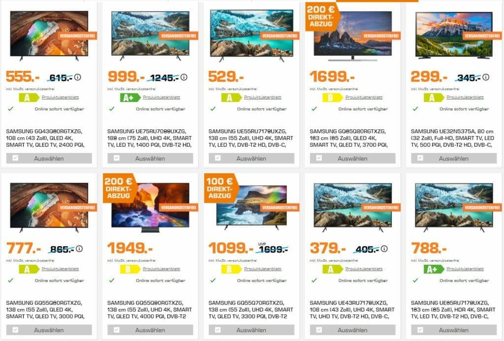 Auf Saturn.de gibt es reduzierte UHD & QLED Fernseher von Samsung - oft zum Bestpreis