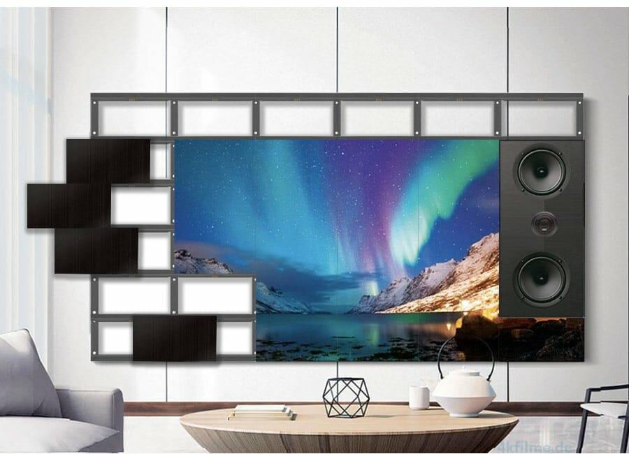 Bei Samsungs modularem TV lassen sich nicht nur Displayelemente, sondern auch Lautsprecher uvm. selbst zusammenstellen