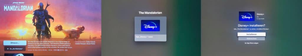 """Wir haben die App direkt über eine Inhalts-Empfehlung """"The Mandalorian"""" installiert"""