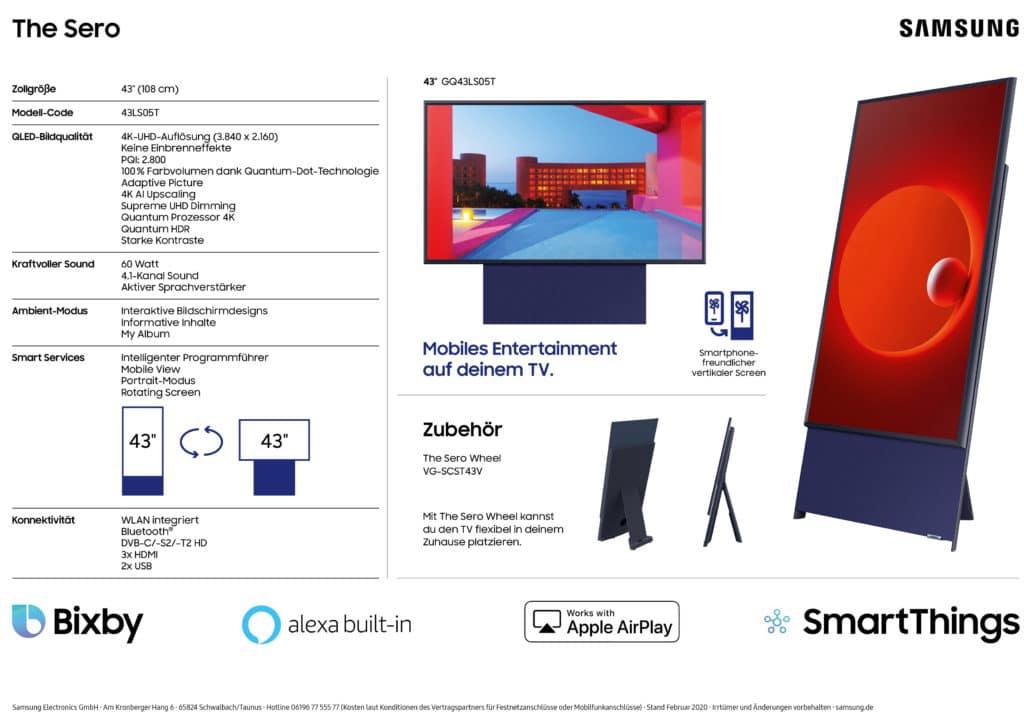 Samsung The Sero 4K QLED TV: Technische Details