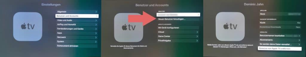 Jetzt melden wir uns mit unserer US Apple ID auf unserem Apple TV 4K an. Wir haben zur Sicherheit noch den bestehenden Account gelöscht.