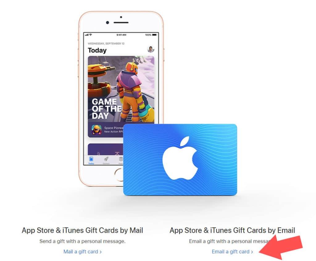 Die US iTunes Gift Card schicken wir an unsere eigene Email Adresse
