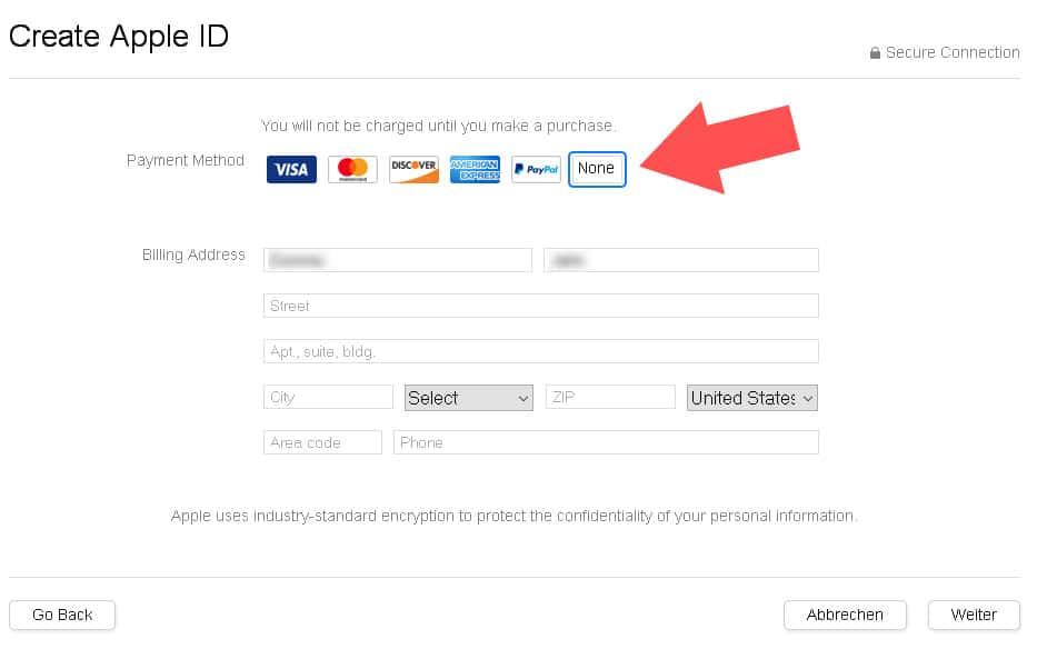 """Gebt bei Zahlungsinformationen """"None"""" an und """"besorgt"""" euch eine Adresse wie im Text beschrieben"""