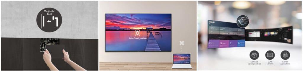 Das LED-Display wird frontseitig mit Magneten installiert und konfiguriert sich automatisch. Ein starkes SoC mit webOS und spezieller Software erlaubt verschiedenste Displaymodi