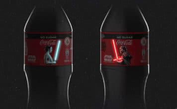 OLED Rey Kylo Ren Lichtschwerter Coca Cola Flaschen