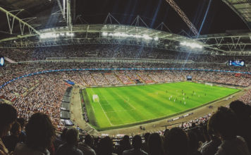 Fussball Stadion Nacht