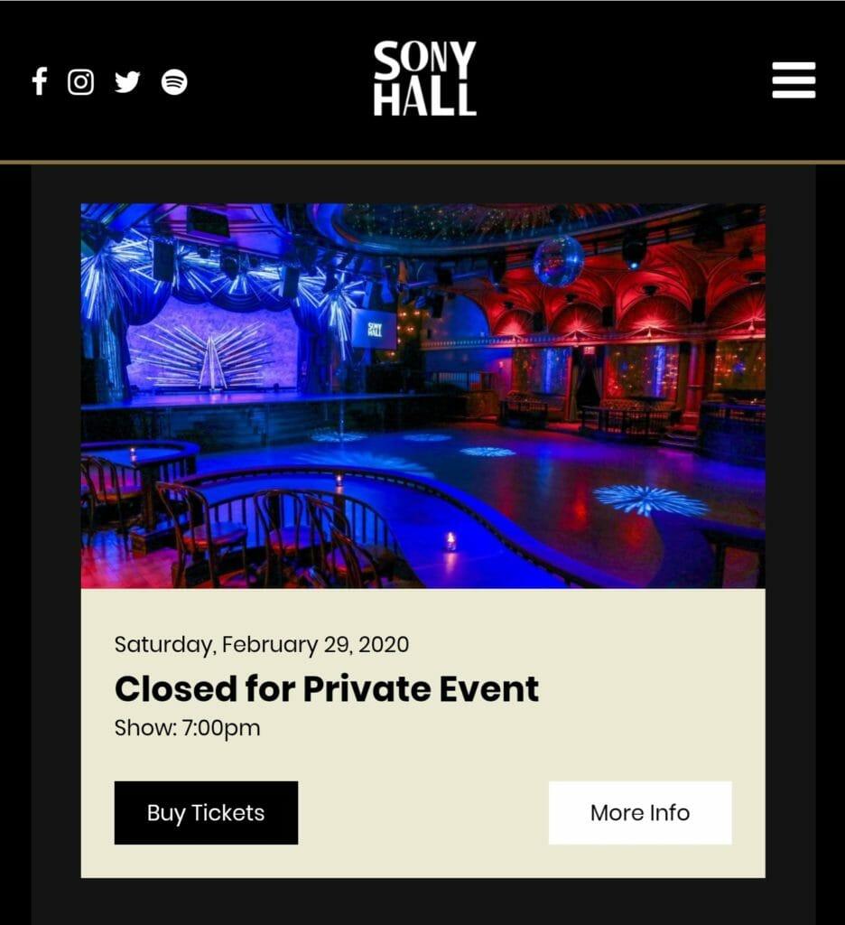 Die Sony Hall ist für den 29. Februar gebucht