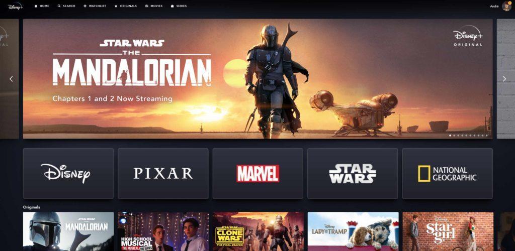 Disney+ Weboberfläche