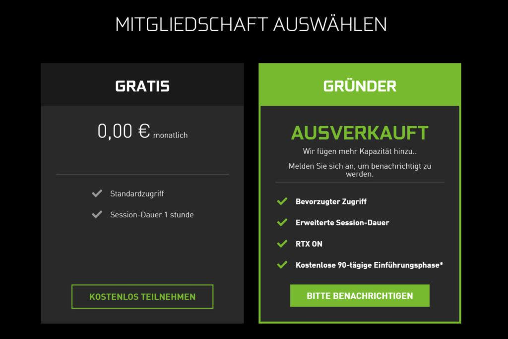 Nvidia GeForce Now Founder Ausverkauft