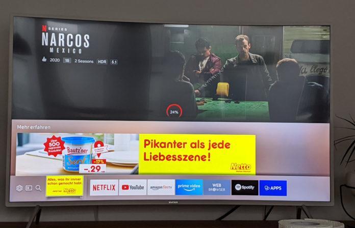 Samsung zeigt an TVs in seinem Smart Hub Werbung