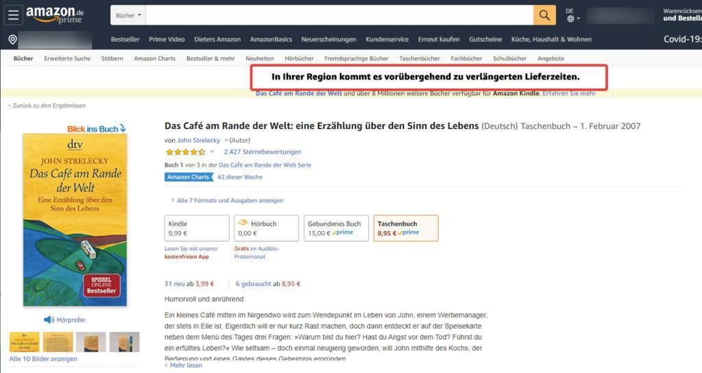 Amazon Region verlängerte Lieferzeit