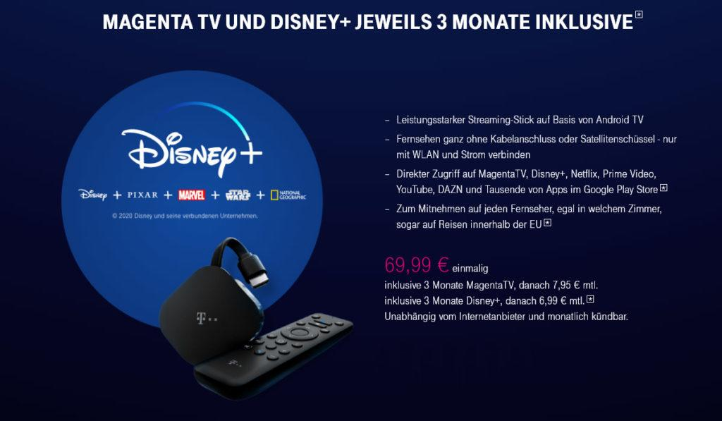 Vorteile Magenta TV Stick 3 Monate Disney Plus gratis