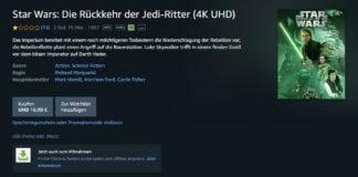 Star Wars Episode 1-6 können auf Prime Video in 4K/HDR gestreamt werden