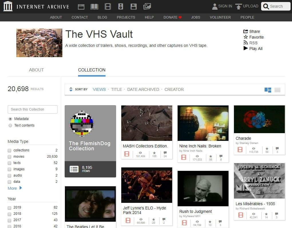 Videos in der VHS Vault lassen sich direkt wiedergeben und herunterladen
