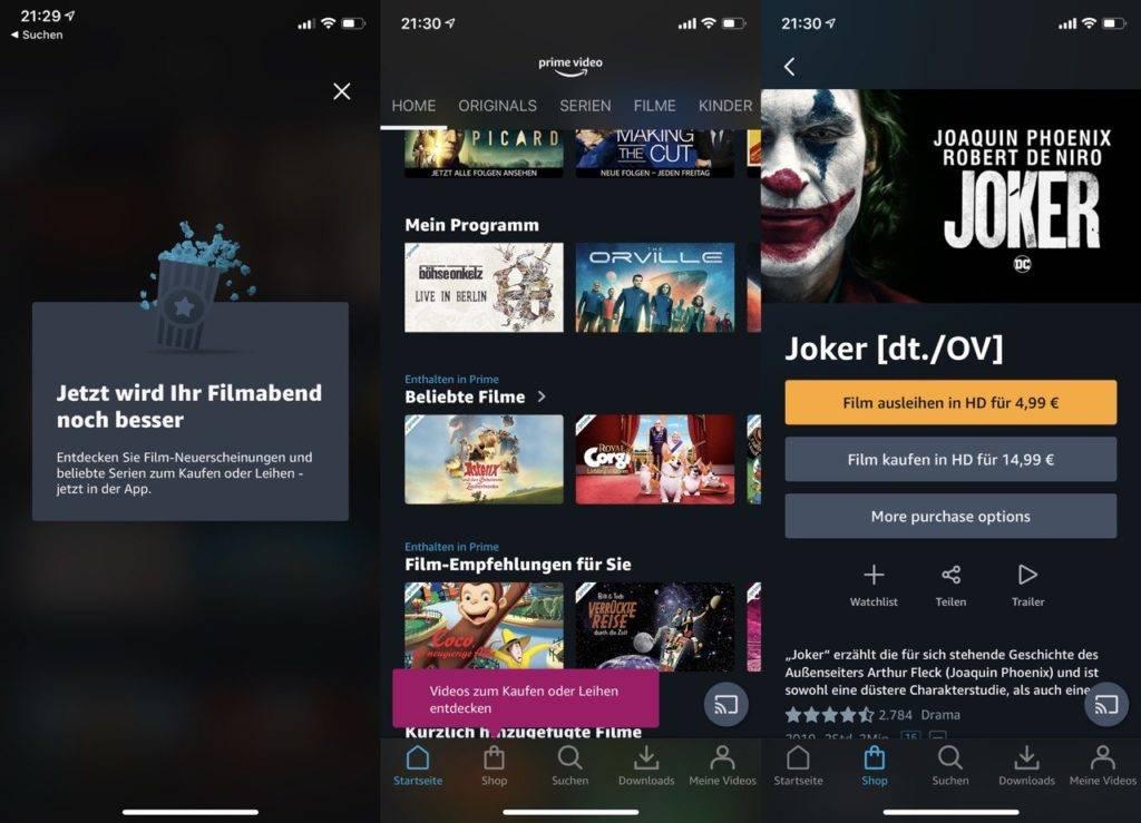Amazon Prime Video iOS Kaufen Leihen