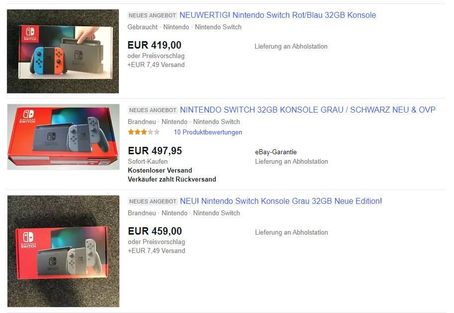 Private und gewerbliche Anbieter schlagen bis zu 50% auf den Preis der Nintendo Switch Konsole drauf
