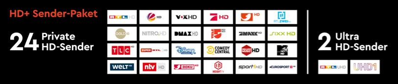 HD & UHD Senderauswahl auf HD+