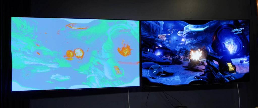 HDR-Implementation in Halo 5 auf deiner Xbox Series X. Beachtet die Highlight im HUD (oben) in der Flamme bzw. der Explosion die an die 1.000 nits heranreicht. (Bild: Youtube/Austin Evans)