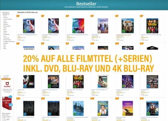 20 Prozent auf alle lieferbaren Filme & Serien auf Amazon.de