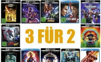 Bis zu 33% sparen, mit der 3FÜR2-Aktion auf Marvel und Star Wars-Filme