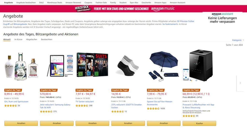Auf der Angebote-Seite von Amazon findet man immer interessante Schnäppchen