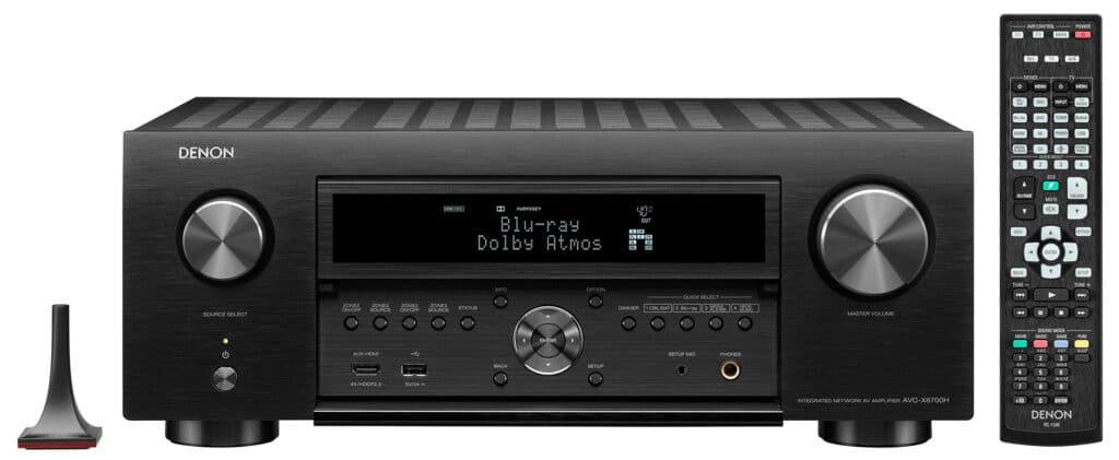 AVC-X6700H in Schwarz mit Mikrofon und Fernbedienung
