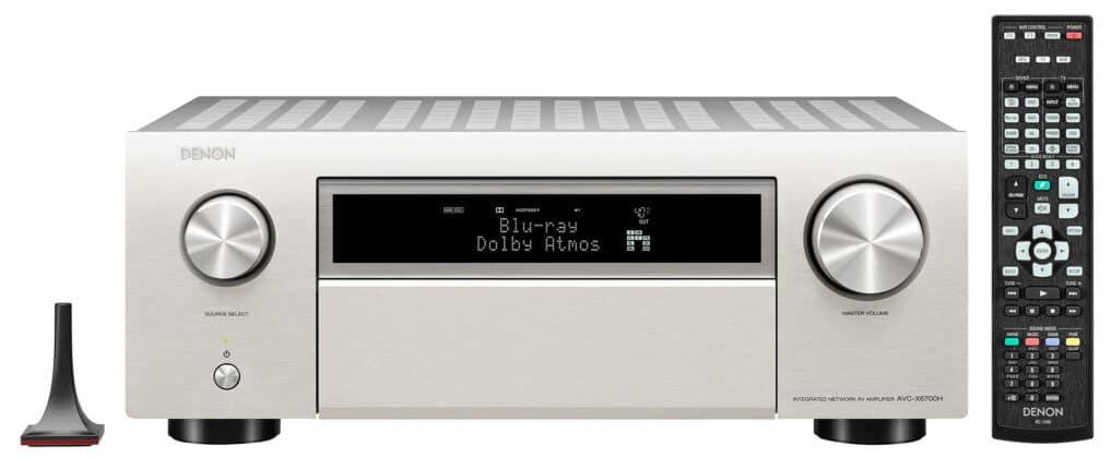AVC-X6700H in Silber mit Mikrofon und Fernbedienung